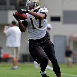 05 June 2009: Saints receiver Robert Meachem (17) participates in drills during the New Orleans Saints Minicamp held at the team's practice facility in Metairie, Louisiana.