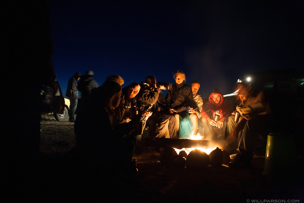 Various teams completing the 2009 Mongol Rally camp for the night along the southern route through Mongolia to the capital city, Ulaanbaatar.