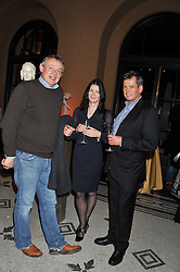 Left to right, MARTIN CLUNES and DOMINIC & ALISON OZANNE at a private view of the V&A's exhibition Golden Spider Silk held at the Victoria & Albert museum, London on 24t January 2012.