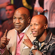 Mike Tyson and Zab Judah are seen during the Iron Mike Productions, ESPN Friday Night Fights boxing match at Turning Stone Resort Casino on Friday, June 6, 2014 in Verona, New York.  (AP Photo/Alex Menendez)