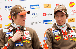 Peter Prevc and Robert Kranjec during press conference Slovenian Nordic Ski Jumping team of Ski Association of Slovenia (SZS) on January 22, 2013 in Ljubljana, Slovenia. (Photo By Vid Ponikvar / Sportida.com)