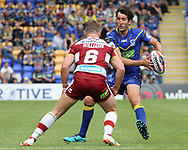 Stefan Ratchford of Warrington Wolves and George Williams of Wigan Warriors in action during the Ladbrokes Challenge Cup Quarter Final match at the Halliwell Jones Stadium, Warrington.<br /> Picture by Michael Sedgwick/Focus Images Ltd +44 7900 363072<br /> 02/06/2018
