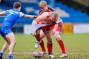 London Broncos interchange Edward Battye (15) at the play the ball during the Betfred Championship match between Halifax RLFC and London Broncos at the MBi Shay Stadium, Halifax, United Kingdom on 8 April 2018. Picture by Simon Davies.