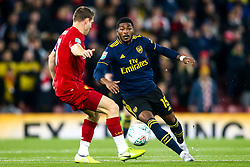 Ainsley Maitland-Niles of Arsenal takes on James Milner of Liverpool - Mandatory by-line: Robbie Stephenson/JMP - 30/10/2019 - FOOTBALL - Anfield - Liverpool, England - Liverpool v Arsenal - Carabao Cup