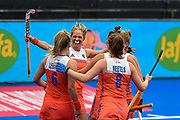 Carlien Dirkse van den Heuvel captain of the Netherlands (9) scores a goal (6-1) and celebrates with team mates during the Vitality Hockey Women's World Cup 2018 Pool A match between the Netherlands and Italy at the Lee Valley Hockey and Tennis Centre, QE Olympic Park, United Kingdom on 29 July 2018. Picture by Martin Cole.