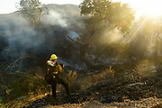 Firefighter Jake Schaeffer of Ventura County Fire Department's Crew 12 takes a break from fighting the Princeton fire on Nov. 7, 2015  in Moorpark, Calif.