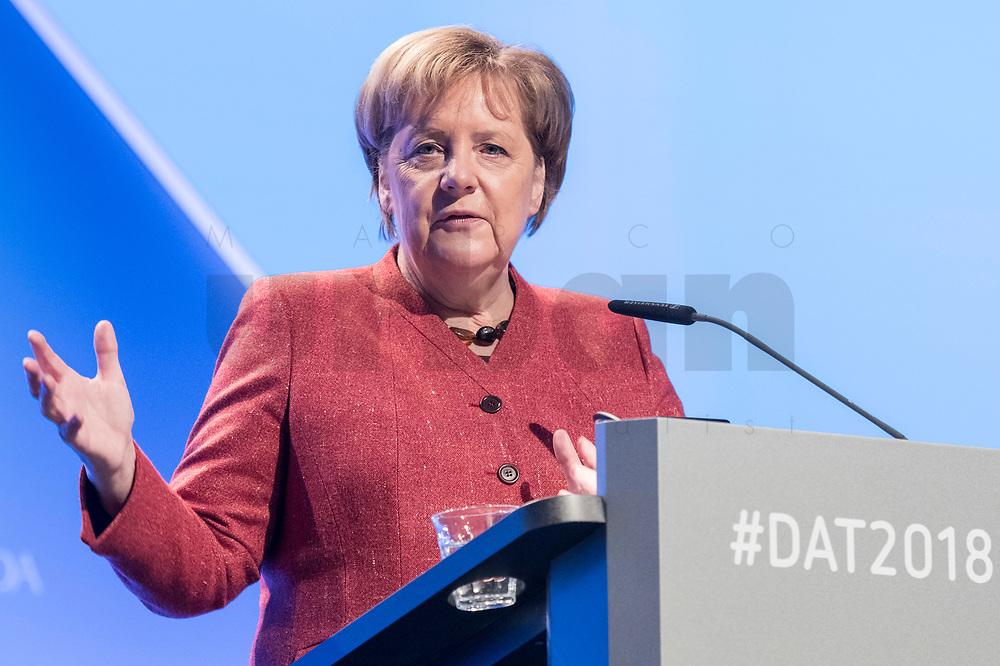 23 NOV 2018, BERLIN/GERMANY:<br /> Angela Merkel, CDU, Bundeskanzlerin, haelt eine Rede, Deutscher Arbeitgebertag 2018, Vereinigung Deutscher Arbeitgeber, BDA, Estrell Convention Center<br /> IMAGE: 20181123-01-240