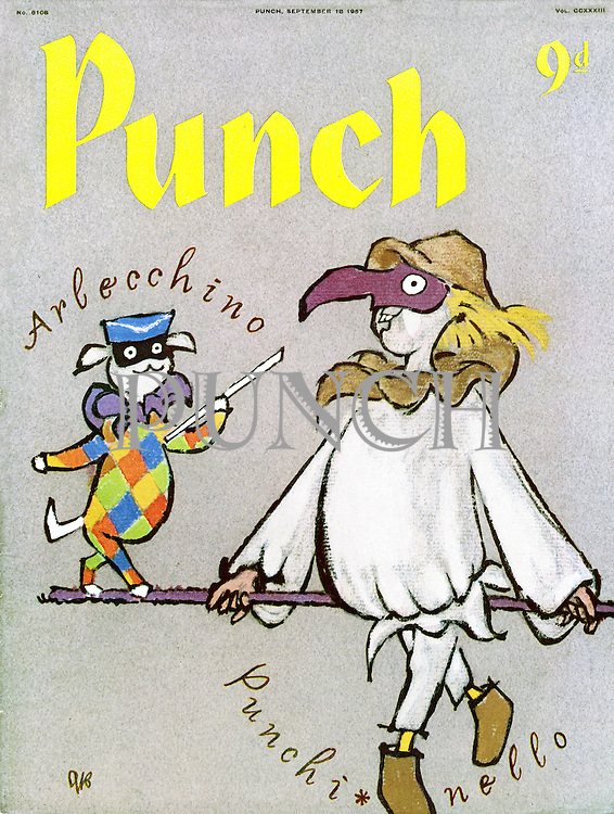 Punch Front Cover - September 18th 1957 - Mr Punch with Toby the dog
