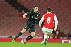 LONDON, ENGLAND - Friday, March 4, 2016: Liverpool's Adam Phillips in action against Arsenal during the FA Youth Cup 6th Round match at the Emirates Stadium. (Pic by Paul Marriott/Propaganda)