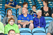 AFC Wimbledon fans in the crowd during the Carabao Cup match between Portsmouth and AFC Wimbledon at Fratton Park, Portsmouth, England on 14 August 2018.