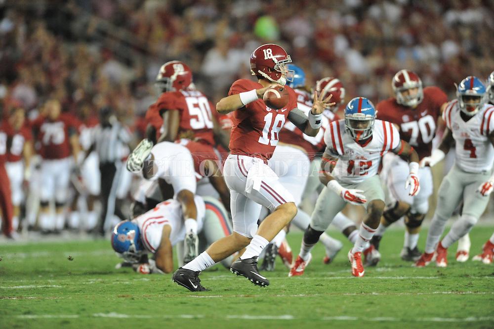 Alabama Crimson Tide quarterback Cooper Bateman (18) at Bryant-Denny Stadium in Tuscaloosa, Ala. on Saturday, September 19, 2015. Ole Miss won 43-37.