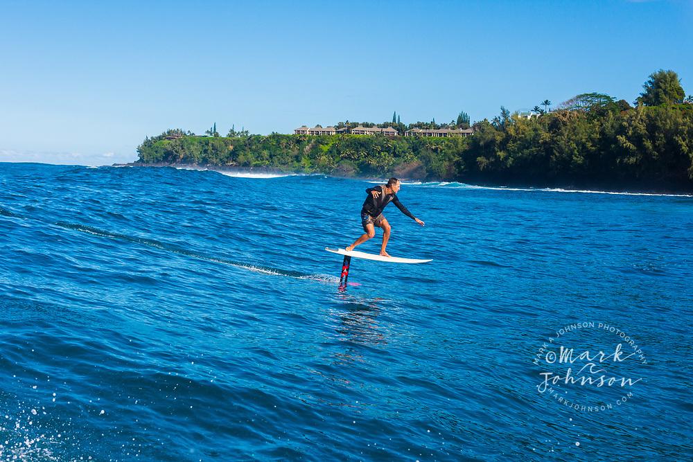 Foil surfing, Hanalei Bay, Kauai, Hawaii