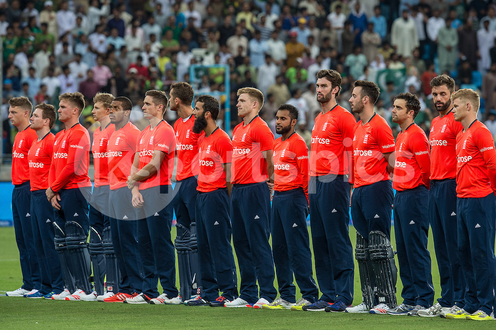 England line up for the national anthems ahead of the 2nd International T20 Series match between Pakistan and England at Dubai International Cricket Stadium, Dubai, UAE on 27 November 2015. Photo by Grant Winter.