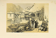 Principal court cf the Convent of St. Catherine, Mount Sinai, An engraving by Louis Haghe after David Roberts from The Holy Land : Syria, Idumea, Arabia, Egypt & Nubia by Roberts, David, (1796-1864) Engraved by Louis Haghe. Volume 4. Book Published in 1855 by D. Appleton & Co., 346 & 348 Broadway in New York.