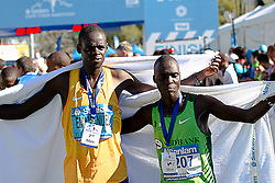 Emmanuel Tirop and Moses Kiptoo Kurgat during the 2016 Sanlam Cape Town marathon held in Cape Town, South Africa on the 18th September  2016<br />