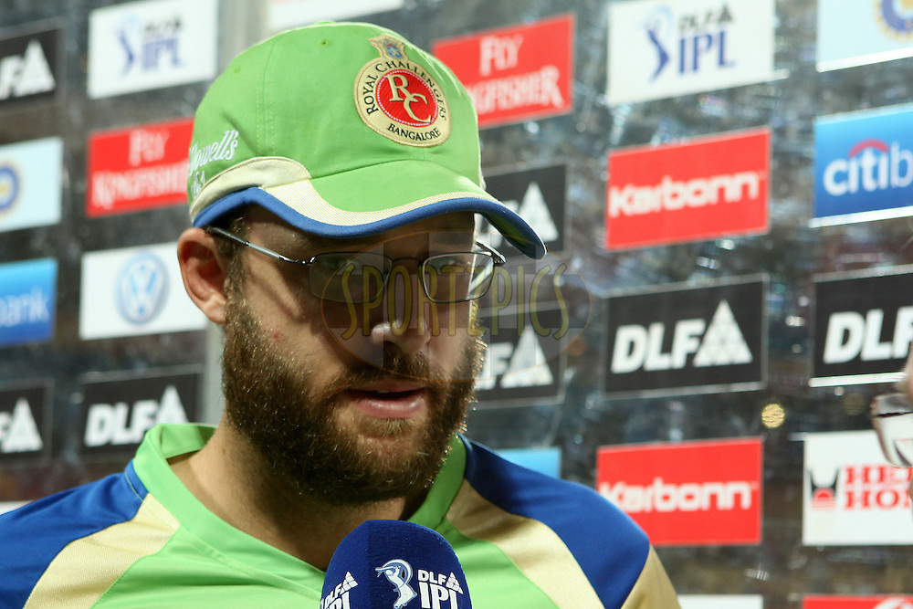 Daniel Vettori is interviewed after the match during match 50 of the the Indian Premier League ( IPL ) Season 4 between the Royal Challengers Bangalore and the Kochi tuskers Kerala held at the Chinnaswamy Stadium, Bangalore, Karnataka, India on the 8th May 2011..Photo by Ron Gaunt/BCCI/SPORTZPICS