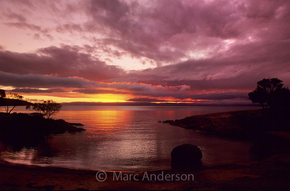 Sunset over Honeymoon Bay, Freycinet Peninsula, Tasmania.