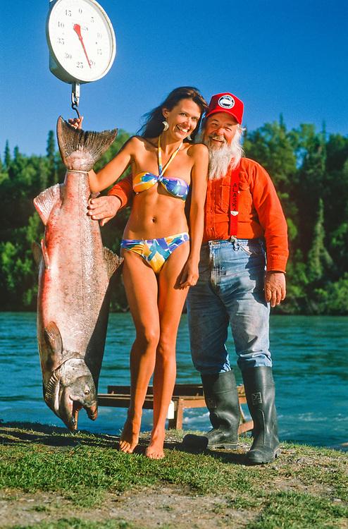 Alaska. Kenai Peninsula. Kenai River. Fishing buddies from Harry Gaines Fishing Guides pose for a picture. MR.