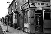 Thimblemill cafe in Industrial urban cityscapes in Aston Area of Birmingham in 1970s.