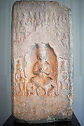 Photo shows Buddhist images engraved on a block of stone, which dates back to the 6th century, on display at the Nezu Museum of Art in, Tokyo, Japan on 17 Sept. 2012. Photographer: Robert Gilhooly