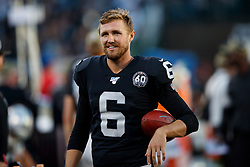 OAKLAND, CA - NOVEMBER 17: Punter A.J. Cole #6 of the Oakland Raiders stands on the sidelines during the fourth quarter against the Cincinnati Bengals at RingCentral Coliseum on November 17, 2019 in Oakland, California. The Oakland Raiders defeated the Cincinnati Bengals 17-10. (Photo by Jason O. Watson/Getty Images) *** Local Caption *** A.J. Cole
