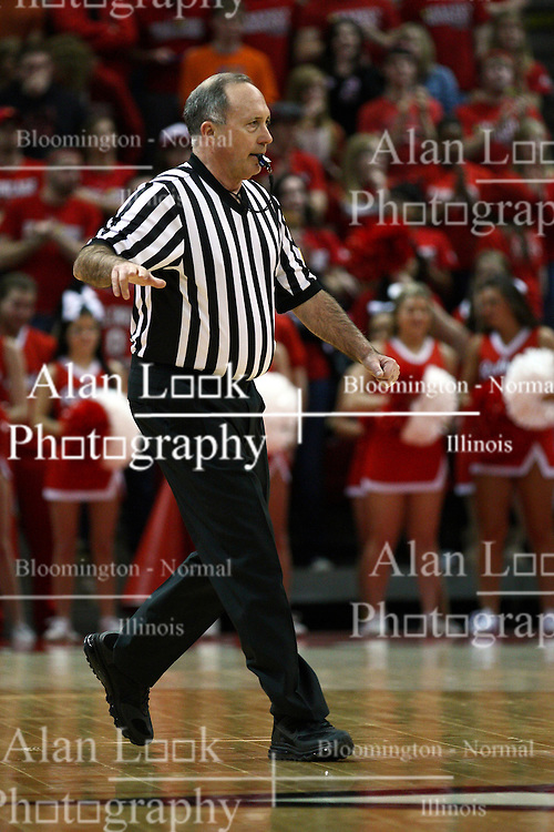12 January 2013:  Referee Bob Staffen during an NCAA Missouri Valley Conference mens basketball game Where the Bulldogs of Drake University beat the Illinois State Redbirds 82-77 in Redbird Arena, Normal IL