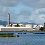 Sewage Treatment Plant in Maui, Hawaii with Kanaha Pond State Wildlife Sanctuary in Foreground