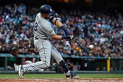 SAN FRANCISCO, CA - JUNE 12: Austin Hedges #18 of the San Diego Padres at bat against the San Francisco Giants during the fifth inning at Oracle Park on June 12, 2019 in San Francisco, California. The San Francisco Giants defeated the San Diego Padres 4-2. (Photo by Jason O. Watson/Getty Images) *** Local Caption *** Austin Hedges
