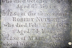 © Licensed to London News Pictures. 21/10/2015. Halifax, UK. Picture shows the headstone of Robert Nutter who fought in the Battle of Waterloo at the Victorian Grade 2 listed Lister Lane Cemetery in Halifax that dates back to 1841 & has been recognised as a Significant Cemetery in Europe, one of only 13 in the UK putting it alongside such famous cemeteries as Highgate in London. The cemetery houses burial plots of James Uriah Walker who was the owner of the Halifax Guardian & the first person to publish the Bronte sister's work, The Crossley family who's mill became the largest carpet manufacturing business in the world & numerous veterans of the battle of Waterloo. Photo credit: Andrew McCaren/LNP