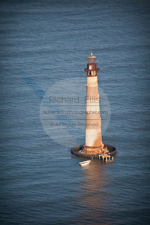 Aerial view of historic Morris Lighthouse Charleston, SC