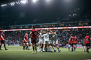 Dimitri SZARZEWSKI (Racing Metro 92) scored a try, celebration with partners during the European Rugby Champions Cup, Pool 4, Rugby Union match between Racing 92 and Munster Rugby on January 14, 2018 at U Arena stadium in Nanterre, France - Photo Stephane Allaman / ProSportsImages / DPPI