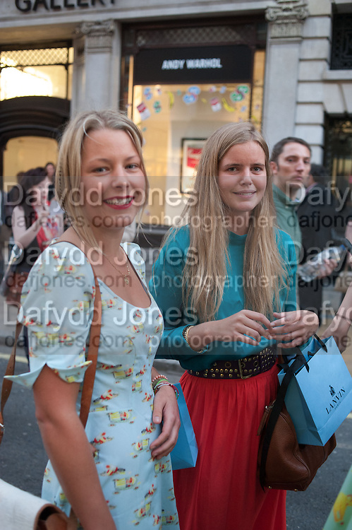 DAVINA HARBORD; KATY REDDMAN; , Vogue's Fashion night out special opening of the Halcyon Gallery.  New Bond St. London. 6 December 2012.