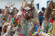 """Feast of """"Mamacha del Carmen"""" of Paucartambo. Even Saqra, despite representing the devils tempting parade in the day before to greet the Madonna…but they don't entry inthe church"""