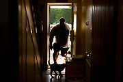 Eddie Hall aka &quot;The Beast&quot; - The Strongest Man in the World.<br /> A feature following what it takes to be Eddie Hall, who has become the first Brit to win World's Strongest Man competition in 24 years. <br /> Caption: Eddie walks through his front door.<br /> Photographer: Rick Findler / Story Picture Agency