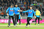 Wicket - Michael Burgess of Sussex is congratulated on the stumping of Brett D'Oliveira of Worcestershire during the final of the Vitality T20 Finals Day 2018 match between Worcestershire Rapids and Sussex Sharks at Edgbaston, Birmingham, United Kingdom on 15 September 2018.
