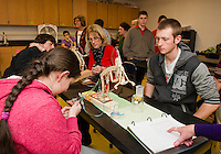Matt Roman works with Mrs. Anderson and Dianna Walton works with Justin Bilodeau as they use calculations to operate their robotic arms in JoAnne Gilbert's Applied Science class at LHS Monday afternoon.  (Karen Bobotas/for the Laconia Daily Sun)