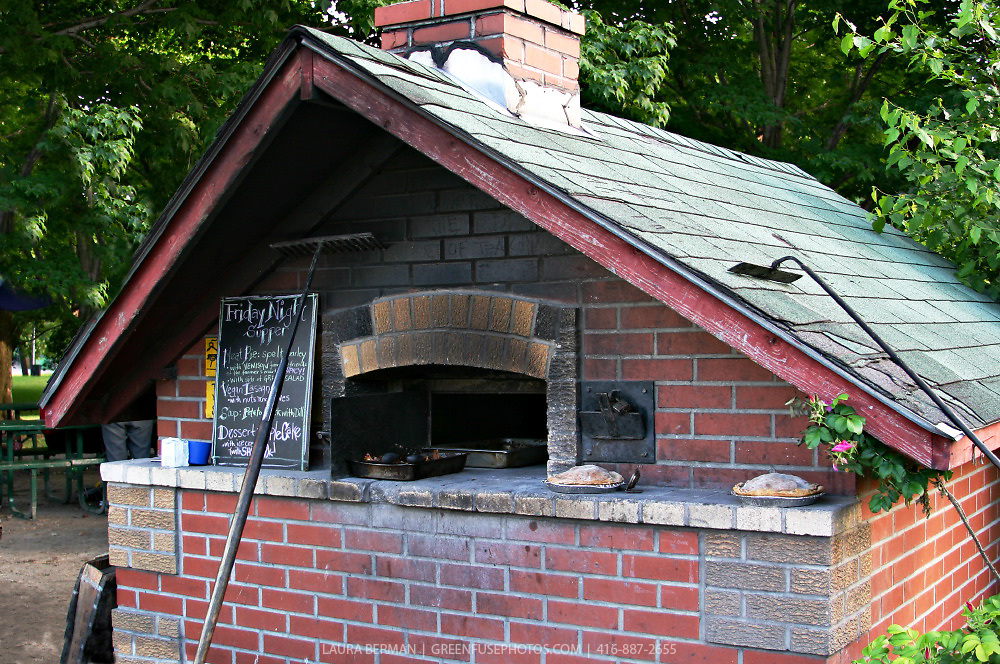 Outdoor, wood-fired bread oven at Dufferin Grove Park in Toronto, Ontario, Canada.