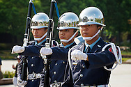 See military precision at the Martyrs' Shrine in Taipei.