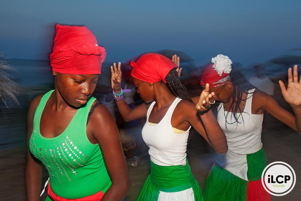 Garifuna Heart traditional dance group performing at the beach, Garifuna community of Punta Gorda, Roatan Island, Bay Islands, Honduras, April