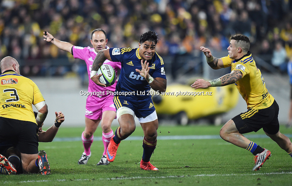 Malakai Fekitoa during the Super Rugby Final between the Hurricanes and Highlanders at Westpac Stadium in Wellington., New Zealand. Saturday 4 July 2015. Copyright Photo: Andrew Cornaga / www.Photosport.nz