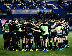 Glasgow Warriors players huddle during the pre match warm up<br /> <br /> Photographer Simon King/Replay Images<br /> <br /> Guinness PRO14 Round 15 - Cardiff Blues v Glasgow Warriors - Saturday 16th February 2019 - Cardiff Arms Park - Cardiff<br /> <br /> World Copyright © Replay Images . All rights reserved. info@replayimages.co.uk - http://replayimages.co.uk
