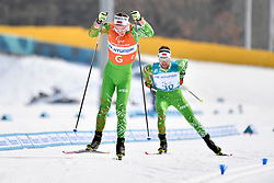 HOLUB Yury BLR B3 Guide: BUDZILOVICH Dzmitry competing in the ParaSkiDeFond, Para Nordic Skiing, 20km at  the PyeongChang2018 Winter Paralympic Games, South Korea.