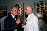 SANDY NAIRNE; JASON BROOKS, DAVID BAILEY: THEN.-private view of an exhibition of photographs. Hamiltons. London. 6 July 2010. -DO NOT ARCHIVE-© Copyright Photograph by Dafydd Jones. 248 Clapham Rd. London SW9 0PZ. Tel 0207 820 0771. www.dafjones.com.