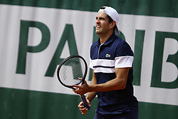 May 23, 2019 - Paris, France - Guillermo Garcia-Lopez of Spain in action during a match against Oscar Otte of Germany in the  third round qualifications of Roland Garros, in Paris, France, on May 22, 2019. (Credit Image: © Ibrahim Ezzat/NurPhoto via ZUMA Press)