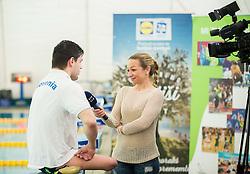 Darko Đurić, Slovenian paralympic swimmer and journalist Antonija Razen during Media day of the National Paralympic Committee (NPC) of Slovenia, on April 26, 2016 in Olympic pool Radovljica, Slovenia. Photo by Vid Ponikvar / Sportida