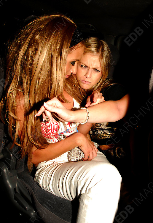 21.AUGUST.2007. LONDON<br /> <br /> A VERY DRUNK CHANTELLE HOUGHTON LEAVING FUNKY BUDDAH AT 3.00AM TO CELEBRATE HER 24TH BIRTHDAY AND SPLIT FROM HUSBAND PRESTON WITH DRINKING PARTNER NIKKI GRAHAME WHO WAS ALSO VERY DRUNK. THEY BOTH STUMBLED TO THE CAR EYES ROLLING HOLDING EACHOTHER UP AND IN THE CAR NICKY LOOKED SHE WAS GOING TO BE SICK AND MAKING FUNNY FACES WHILE CHANTELLE WAS HOLDING HER, THEY THEN BOTH STAGGERED OUT OF THE CAB WITH ALL THERE MAKE UP DOWN THERE FACE AND FINDING IT HARD TO WALK BEFORE GOING INTO THERE HOTEL IN MAYFAIR, CHANTELLE WASN&rsquo;T WEARING HER WEDDING RING.<br /> <br /> BYLINE: EDBIMAGEARCHIVE.CO.UK<br /> <br /> *THIS IMAGE IS STRICTLY FOR UK NEWSPAPERS AND MAGAZINES ONLY*<br /> *FOR WORLD WIDE SALES AND WEB USE PLEASE CONTACT EDBIMAGEARCHIVE - 0208 954 5968*