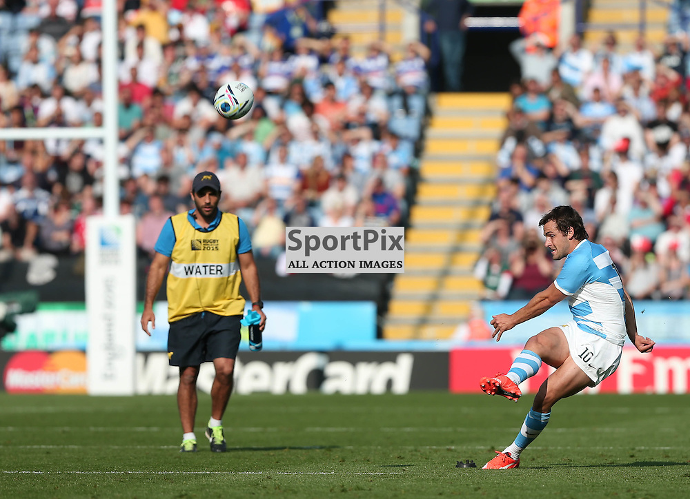 Nicolas Sanchez makes the conversion during the Rugby World Cup Argentina v Tonga, Sunday 04 October 2015, Leicester City Stadium, Leicester, England Stadium (Photo by Mike Poole - SportPix)