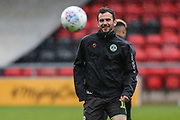 Forest Green Rovers Gavin Gunning(16) warming up warming up during the EFL Sky Bet League 2 match between Crewe Alexandra and Forest Green Rovers at Alexandra Stadium, Crewe, England on 27 April 2019.