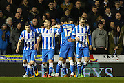 Brighton striker, Tomer Hemed (10) celebrates his goal 1-0 during the Sky Bet Championship match between Brighton and Hove Albion and Leeds United at the American Express Community Stadium, Brighton and Hove, England on 29 February 2016. Photo by Phil Duncan.
