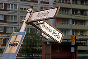 Months after the fall of the Berlin wall and the collapse of the communist GDR state (the German Democratic Republic), bent street signposts still remain, on 15th June 1990, in Berlin, Eastern Germany. (Photo by Richard Baker / In Pictures via Getty Images)